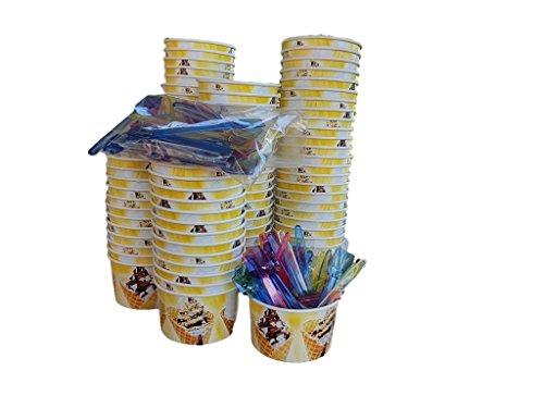 Kram 100Stück Tasse + Löffel Ice Cream 250ml Schale Klein Container Takeaway Fast Food Einweg Box Deckel Aufbewahrungsbox für Kinder Kid Party (Container Cream Home Made Ice)