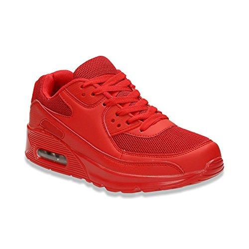 Herren Damen Sneaker Sportschuhe Lauf Freizeit Fitness Low Unisex Schuhe Rot/Herren