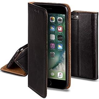 Moozy Lederhülle für iPhone 7 / iPhone 8, Schwarz - Ledertasche, Echt Leder Case mit Kartensteckplätze/Kartenfach und Standfunktion