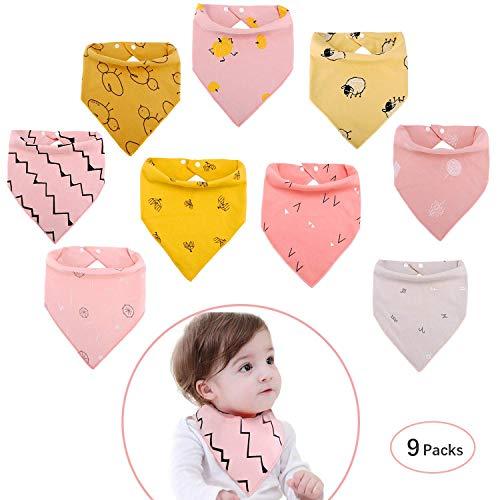 Viedouce Dreieckstuch mit 2 Verstellbares Druckknopf,100% Bio-Baumwolle,Weiche & Absorbierende, Halstücher Drool Lätzchen für Jungen Mädchen