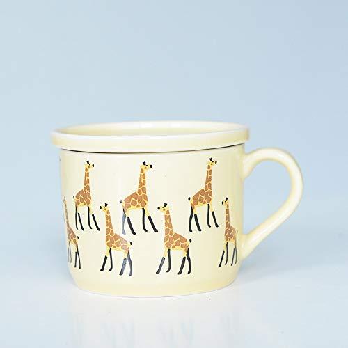 (Jhtadva Kinder Cartoon Milchschale Kreative Keramikschale Becher, gelbe Giraffe, Porzellanabdeckung, einzelne Tasse)