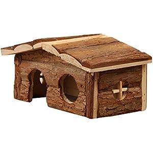 UEETEK Hamster Natural Holzhaus Versteck mit Rinde für Hamster Meerschweinchen
