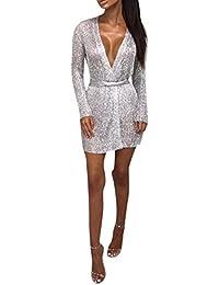 7b075c39158b19 Damen Elegant Pailletten Glitzer Kurz Cocktailkleid Sweater Strickjacke  Kleider Minikleid