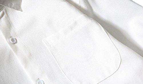 Einfarbig Revers Herren-Langarmhemd Große Yards Lösen Beiläufiges Hemd Hemd Black