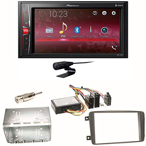 Pioneer MVH-A210BT USB Autoradio Touchscreen Bluetooth Moniceiver Freisprecheinrichtung WAV AUX AAC DivX Einbauset für Mercedes C-Klasse W203 CLK W208 W209