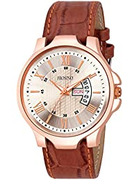 Frosino FRAC101844 Brown Leather Strap Rosegold Case Day and Date Display Analog Watch for Boys and Men (Brown)