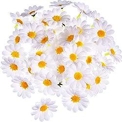 120 Piezas de Flor de Margaritas Artificiales Flores de Tela Gerbera Blancas para Bonnet de Pascua Decoración de Boda y Manualidades