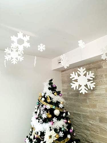 Fiocchi di neve per Natale - Fiocchi di neve in polistirolo per decorazione albero di natale da appendere diverse misure 24 pezzi (Bianco)