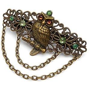 Kleine Haarspange mit Eule in grün braun bronze Vogel