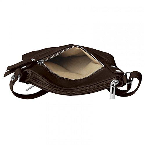 CASPAR Damen Ledertasche / Umhängetasche / Messenger Bag mit vielen Fächern aus weichem italienischem Leder - viele Farben - TL640 dunkelbraun