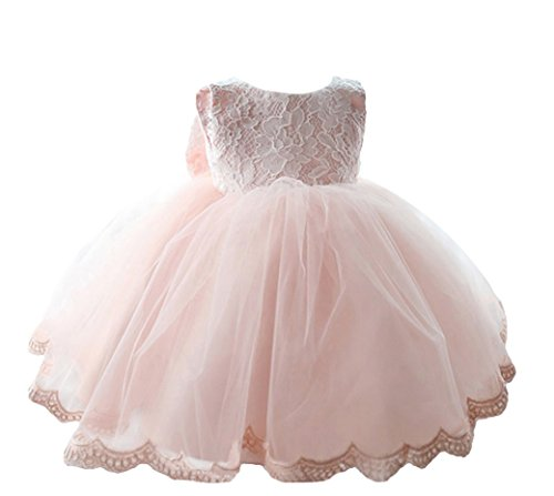 Bambini Bambino Bambina Dacron matrimonio Pageant Gonna da ballo Ruffle vestito da principessa, colore: rosa Living coral 12-15 Mesi