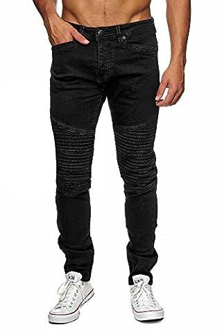 MEGASTYL Biker-Jeans Herren Hose Stretch-Denim Slim-Fit classic, Farbe:Schwarz, Größe:W38 / L34
