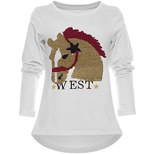 Kinder Mädchen Langarmshirt Wende-Pailletten Long Shirt Tier Motiv 21727, Farbe:Weiß, Größe:152