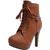 Vintage Stiefel Damen Mode, Sonnena Casual Lederstiefel Rund Toe High Heels  High Heels Schnürer Stiefeletten 15649f020f