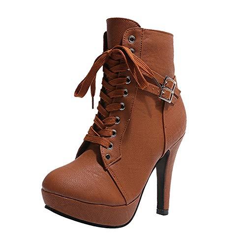 Damen Stiefeletten Xinantime Schuhe Mädchen Low Heel Stiefel Schnürung Ankle Boot Schuhe Kurze Stiefel Komfortable Rutschfeste Schule 35-43
