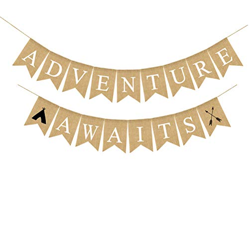 Jute Sackleine Adventure Awaits Banner Abschluss Party Rente Party Bon Voyage Party Dekoration