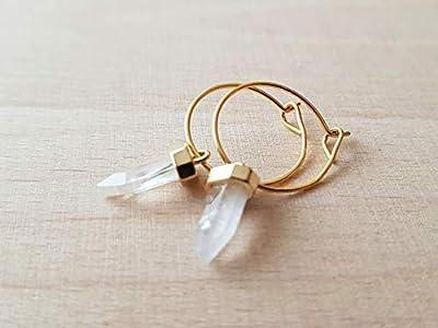 Mini créoles pendentif pointe pierre quartz - bijoux boho femme