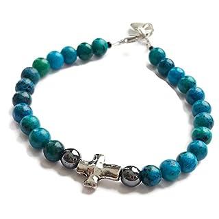 kmj Designs Valley of Life Cross Bracelet - Jasper Stone & Hematite Stone - New life healing and grounding bracelet - Chakra related bracelet (8)
