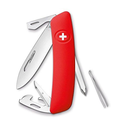 SWIZA Swiss Pocket Knife D04, red anti-slip-grips, 6 Features - Bordo Pocket Knife
