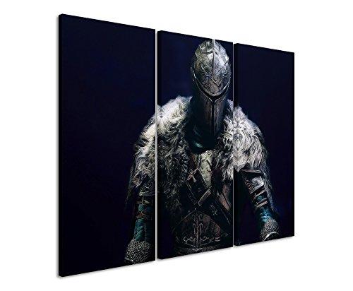 Leinwandbild 3 teilig Dark_Souls_II_3x90x40cm (Gesamt 120x90cm) _Ausführung schöner Kunstdruck auf echter Leinwand als Wandbild auf Keilrahmen