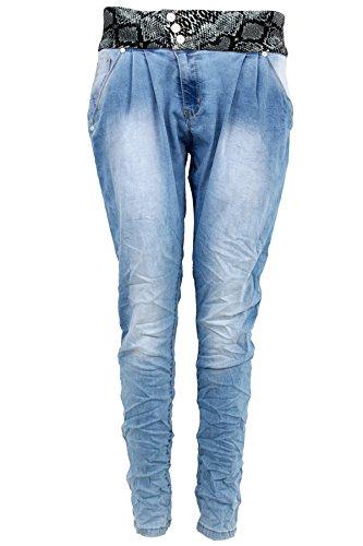 Womens Tiefer Schritt Locker Sitzend Tanz Boyfriend Konisch Schlange Jeans Q1501-2 Blau Stone Wash