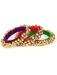 Loops N Knots Multi-Colour Fashion Jewellery Ghungroo Bangle Set For Girls Women-Traditional Wear Bangle Set