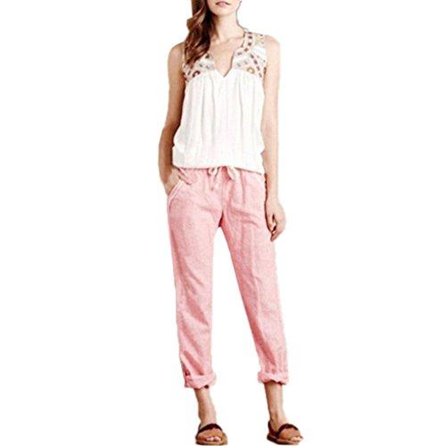 UFACE Women's Casual Gestreifte Tasche Lose Hosen Hohe Taille Vintage Striped Lose Baumwolle Leinen Lange Hosen Pluderhosen (6XL, Rosa) (Gestreifte Socken Gold Hohe)