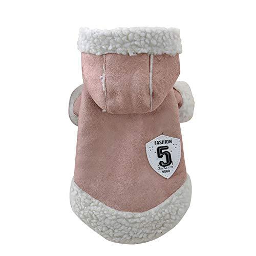 Winter-Hunde Beschichten Weiche Vlies-Hundekleidung Warmes Haustier-Kostüm-Herbst-Kapuzenpulli-Overall-Kleidung Mit Vier Beinen Für Kleine Hunde,Rosa,S (Rosa Lamm Kostüm)