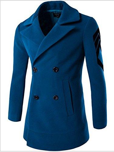 WPEW-Men's Coats Hommes Double Breasted Long Manteau Casual Veste Manteau en Laine