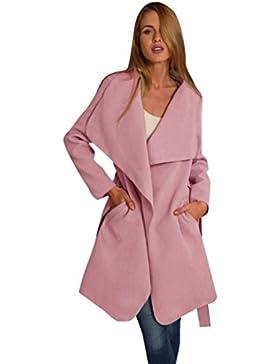 LuckyGirls ❤️• •❤️ Mujer Chaqueta Solapa Bolsillos Color Sólido Abrigo