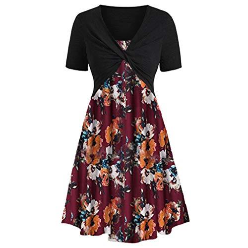 Kleider Damen Sommer Elegant Festlich Abendmode Lang Röcke Mode Kurzarm Vorne Criss Cross Freizeit Top + Blumendruck Minikleid Anzüge(Wein,L) -