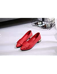 yalanshop Zapatos de Piel, Ligeros y Planos, con Zapatillas Planas para Mujer, Color Rojo (37 Unidades)