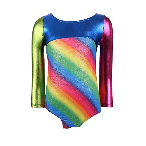 Wongfon Leotard Gymnastikanzugs für Mädchen Long Sleeve Striped Ribbons Mädchen Athletische Gymnastik Ballett Tanz Tragen Leotard Gymnastikanzug (Schwarz Biketard Tanz Kostüm)