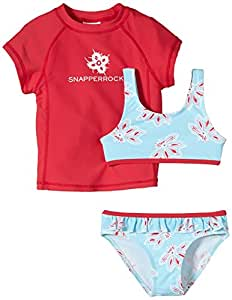 Snapper Rock Girl UPF 50+ UV Sun Protection Two-Piece Set Short Sleeve Swim Shirt & Bikini For Kids & Teens Pink/Blue 1-2 years, 86-92cm