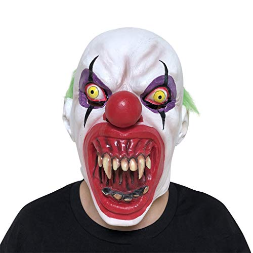 GXDHOME Halloween Latex Gesicht Kopf Maske, Horror Clown Kostüm Scary gruselig lustige Erwachsene Kinder Party Cosplay Karneval Kostüm