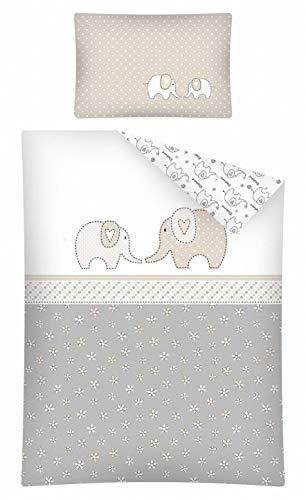 Kinderbettwäsche viele Designs 2-tlg. 100% Baumwolle 40x60 + 100x135 cm (Elefant-Blümchen beige)