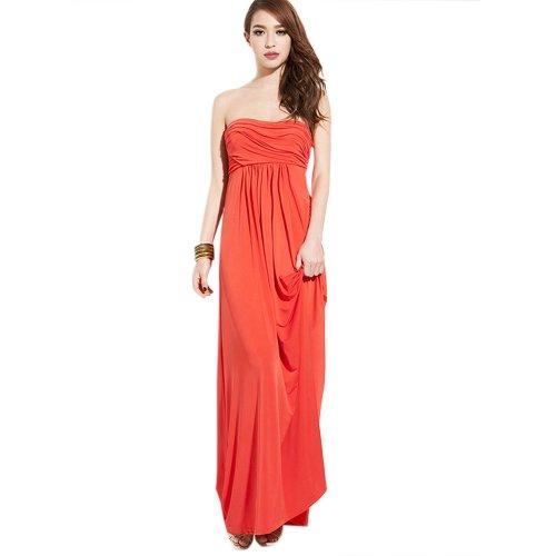 Dearta Damen Kleidungen Empire Herz-Ausschnitt Bodenlang Chiffon Brautjungfernkleider Orange Gr. 46 -