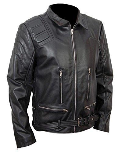 classyak Herren Fashion Echt Leder Jacke im Terminator-Stil Sheep Black