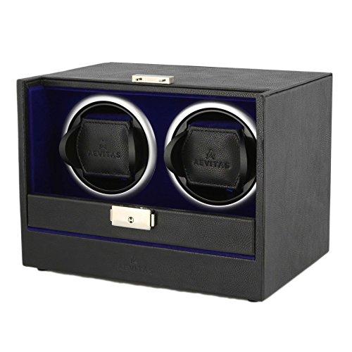 Black Genuine Leather Dual Watch Winder – Slide Away Door – Royal Blue Velvet Lining by Aevitas Sale Price