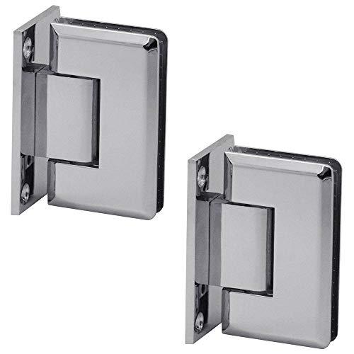 Glas-Scharnier Pendelscharnier Verchromt Wand-Halterung Glas-Tür Dusche Duschtür Bad Türscharnier Beschlag Set Glanz, Modell:Modell 2-2 Stück