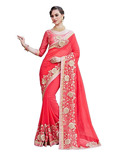 Kjp Villa Women\'s Georgette Pink Free Size Embroidery Saree With Blouse Pics Zareen-5002