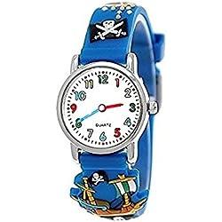 Pure time pirate wristwatch children watch children young girl boy silicone bracelet watch in blue incl. watch box