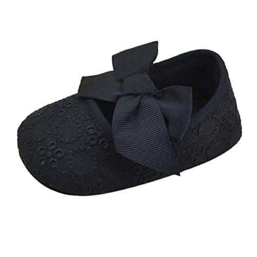 Babyschuhe Longra Baby Mädchen Baumwolle Band Bowknot weichen unteren Blume Prewalker lauflernschuhe krabbelschuhe (0 ~ 18 Monate) Black
