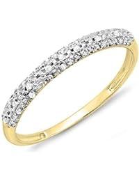 0.10 Carat (ctw) 18 ct Yellow Gold Round Diamond Ladies Anniversary Wedding Band Stackable Eternity Ring 1/10 CT
