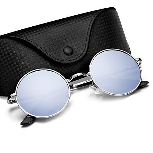 Menton Ezil John Lennon Kleine Runde Sonnenbrille Retro Vintage Stil Hippy Brille für Männer und Frauen mit Runden Polarisierten Linsen Metallrahmen Federscharnier Lebenslange (Kostüme Halloween Schwester Bruder)