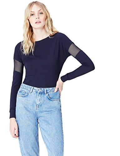 FIND T-Shirt à Manches Longues et Maille Transparente Femme Bleu (Navy)