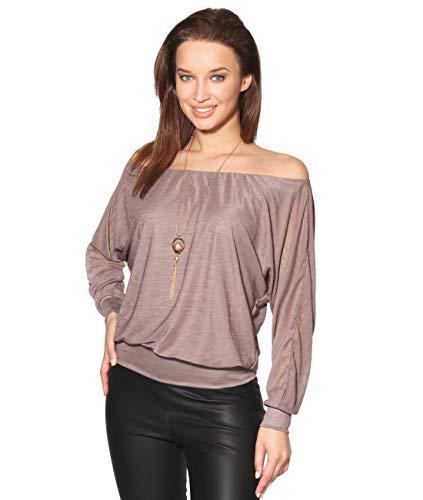 7214-MOC-XL: Leichtes Fledermausärmel Shirt Lange Ärmel (Mokka, Gr.X-Large) Hand Moc