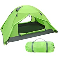 iBaseToy Camping Tent, Lightweight Waterproof Dome Tents for Family Camping 1-3 People-Outdoor Style, Green Two-Layer Outdoor Tent 5000mm