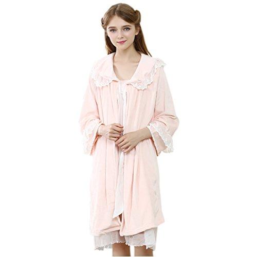 GWELL Ensemble Pyjama Femmes Vêtement de Nuit 2 Pièces Robe Bretelle Manteau Peignoirs Polaire Velours Dentelle Princesse Douce Chaud Chambre Manche Longue Confortable Automne Hiver Orange