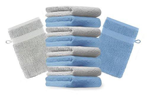 Betz Lot de 10 gants de toilette taille 16x21 cm 100% Coton Premium couleur bleu clair, gris argenté